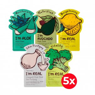 Pack X5 Mascarillas Tony Moly Im (Aloe, Avocado, Broccoli, Lemon, Makegeolli)
